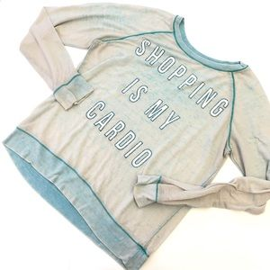 Tops - 'Shopping is my Cardio' Blue Stretchy Top Size XL